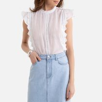 La Redoute Cotton Mix Sleeveless Blouse with High-Neck