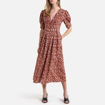 La Redoute Cotton Long Buttoned Dress in Floral Print