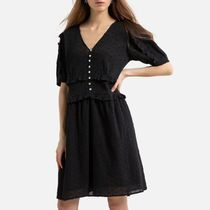 La Redoute Cotton Short Flared Dress with Short Sleeves
