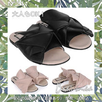 No21 大人もOK GIRLS BLACK LEATHER SANDALS