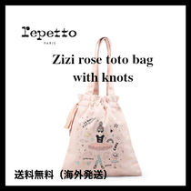 repetto(レペット) 子供用トート・レッスンバッグ 新作!repetto 〓Zizi rose tote bag with knots