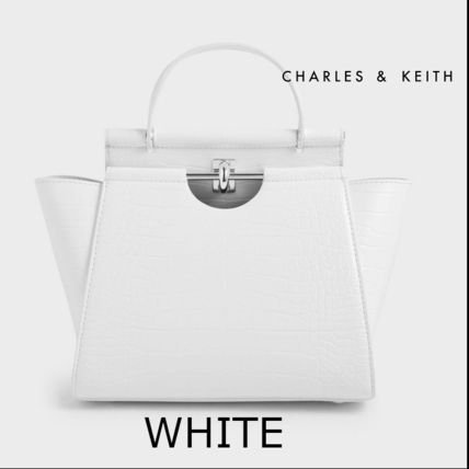 Charles&Keith ハンドバッグ ★Charles&Keith★ Croc-Effect Trapeze Bag★(10)