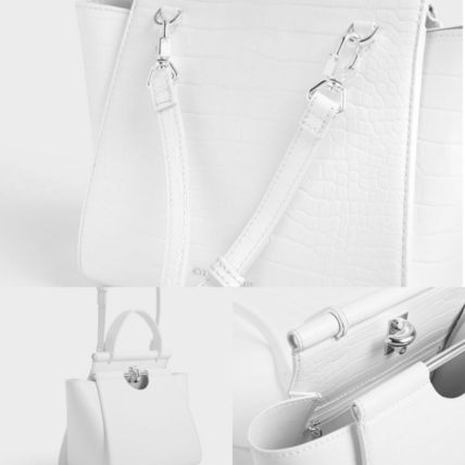 Charles&Keith ハンドバッグ ★Charles&Keith★ Croc-Effect Trapeze Bag★(12)