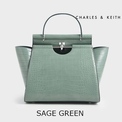 Charles&Keith ハンドバッグ ★Charles&Keith★ Croc-Effect Trapeze Bag★(14)