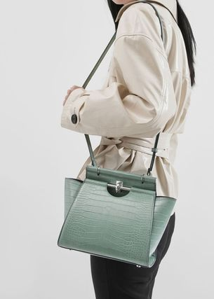Charles&Keith ハンドバッグ ★Charles&Keith★ Croc-Effect Trapeze Bag★(15)