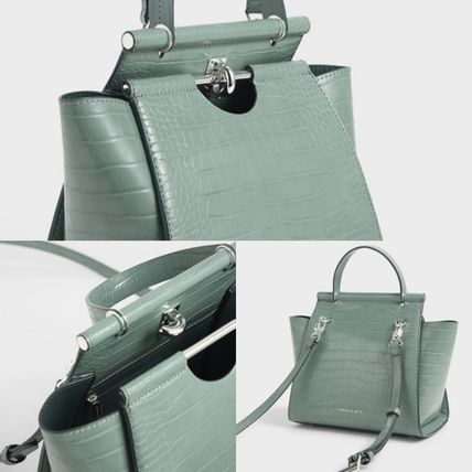Charles&Keith ハンドバッグ ★Charles&Keith★ Croc-Effect Trapeze Bag★(16)