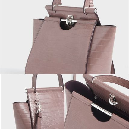 Charles&Keith ハンドバッグ ★Charles&Keith★ Croc-Effect Trapeze Bag★(4)