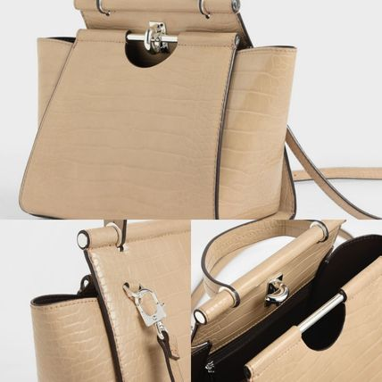 Charles&Keith ハンドバッグ ★Charles&Keith★ Croc-Effect Trapeze Bag★(8)