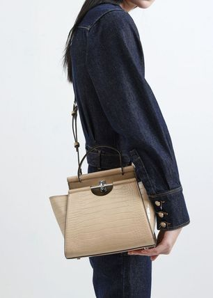 Charles&Keith ハンドバッグ ★Charles&Keith★ Croc-Effect Trapeze Bag★(9)