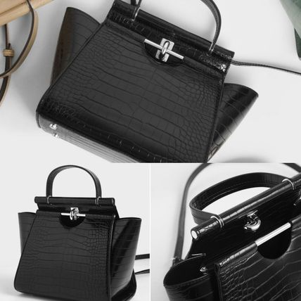 Charles&Keith ハンドバッグ ★Charles&Keith★ Croc-Effect Trapeze Bag★(19)