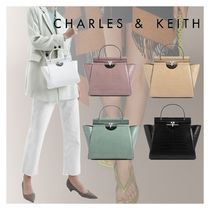 ★Charles&Keith★ Croc-Effect Trapeze Bag★