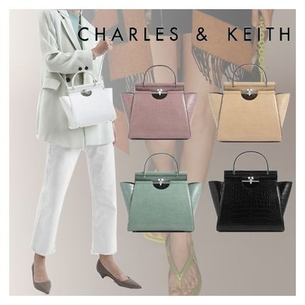 Charles&Keith ハンドバッグ ★Charles&Keith★ Croc-Effect Trapeze Bag★