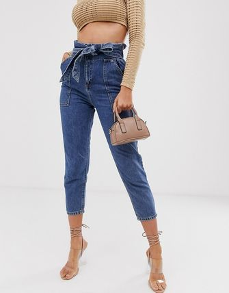 ASOS デニム・ジーパン River Island paperbag waist jeans in mid wash