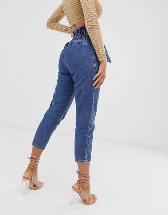 ASOS デニム・ジーパン River Island paperbag waist jeans in mid wash(2)