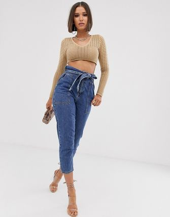 ASOS デニム・ジーパン River Island paperbag waist jeans in mid wash(4)