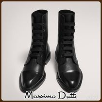 MassimoDutti♪LEATHER LACE-UP BOOTS WITH TOECAP