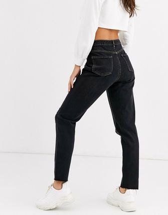 ASOS デニム・ジーパン Missguided Tall riot mom jeans with rips in black(2)