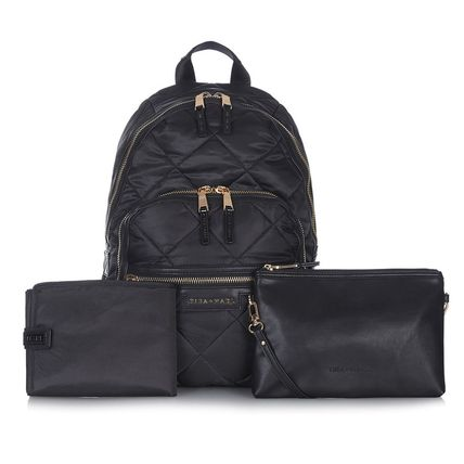 TIBA+MARL マザーズバッグ Tiba+Marl★Black Elwood Quilted Backpack Changing Bag♪