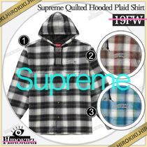 19FW /Supreme Quilted Hooded Plaid Shirt キルト シャツ