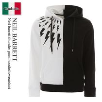 Neil barrett thunder print hooded sweatshirt
