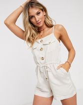 River Island utility button front beach playsuit in cream