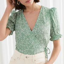 """""""& Other Stories"""" Puff Sleeve Wrap Blouse Green"""