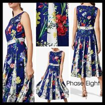【Phase Eight】UK発 Trudy Patched Floral ドレス プリーツ 青