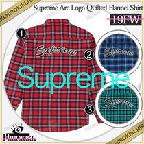 19FW /Supreme Arc Logo Quilted Flannel Shirt フランネル ロゴ