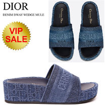 BLUE DENIM DWAY DIOR OBLIQUE EMBROIDERED COTTON WEDGE MULE