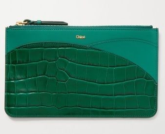 ★CHLOE★WALDEN SMOOTH AND GLOSSED CROC-EFFECT LEATHER POUCH