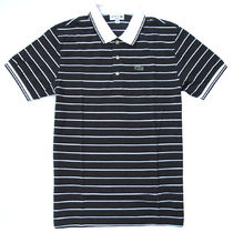 Lacoste (ラコステ) Stripe Neck Line Polo Slim-Fit D.Grey/Wht