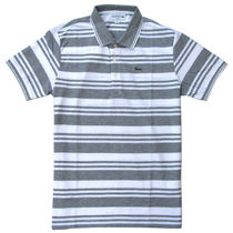 Lacoste (ラコステ) Stripe Neck Line Polo Slim-Fit Grey/Wht