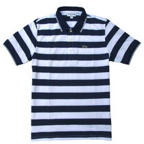 Lacoste (ラコステ) Stripe Neck Line Polo Slim-Fit Navy/Wht