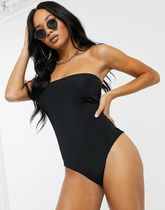 PrettyLittleThing bandeau swimsuit in black