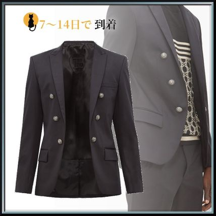 BALMAIN スーツ ◆国内発送◆Open-front double-breasted cotton-blend blazer
