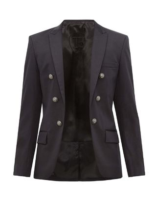BALMAIN スーツ ◆国内発送◆Open-front double-breasted cotton-blend blazer(2)