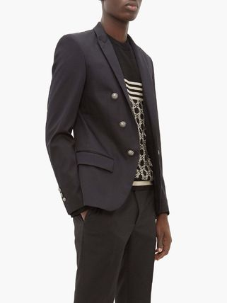 BALMAIN スーツ ◆国内発送◆Open-front double-breasted cotton-blend blazer(3)
