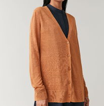 """COS""  LINEN-MULBERRY SILK CARDIGAN ORANGE"