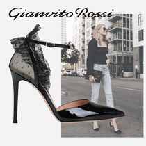 【GIANVITO ROSSI】tulle and patent-leather pumpsス 10.5cm