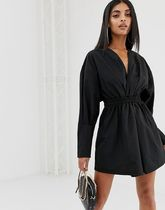 PrettyLittleThing plunge shirt dress with ruched