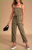 Free People Go West Olive Green Utility Denim Jumpsuit