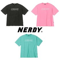 ★NERDY★大人気 韓国 ロゴ Tシャツ Washed 1/2 Sleeve T-shirt