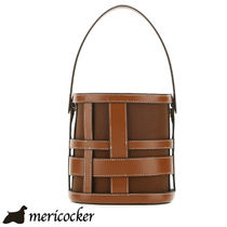 STAUD BROWN LEATHER AND FABRIC PLAID BRODY BUCKET BAG