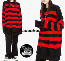 Raucohouse BLACK AND RED STRIPE KNITWEAR KH65 追跡付