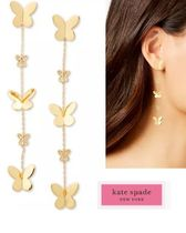 kate spade  Gold-Tone Pave Butterfly Linear Drop Earrings