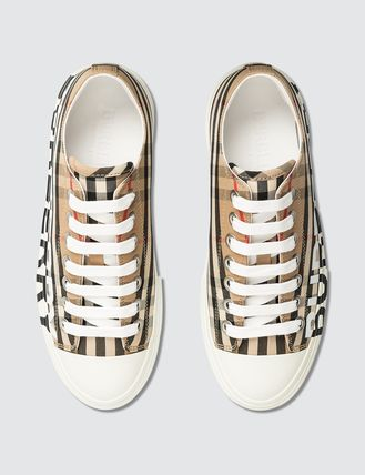 Burberry スニーカー [BURBERRY] Logo Print Vintage Check Cotton Sneakers(6)