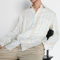 "RESERVED(リザーブド) シャツ ""RESERVED MEN"" COTTON LINEN STRIPE SHIRT NATURAL"