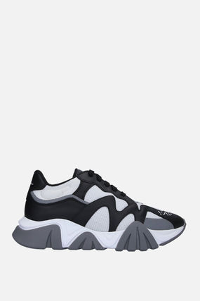 VERSACE スニーカー 【VERSACE】SQUALO SNEAKERS IN MESH AND SMOOTH LEATHER