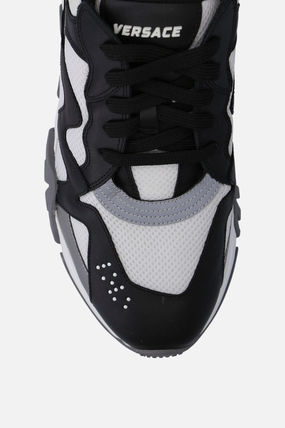 VERSACE スニーカー 【VERSACE】SQUALO SNEAKERS IN MESH AND SMOOTH LEATHER(4)