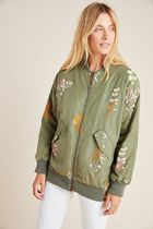 セール! Anthropologie Ainsley Embroidered Bomber Jacket